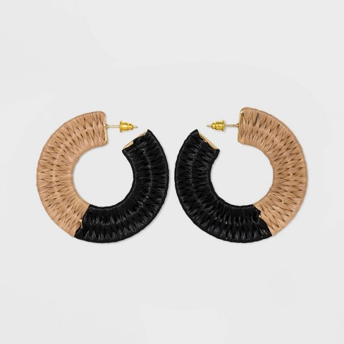 Color Blocked Woven Hoop Earrings - A New Day™ - image 1 of 2