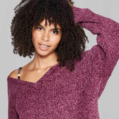 Women's Long Sleeve V-Neck Sweater - Wild Fable™ Dark Berry  - image 1 of 3