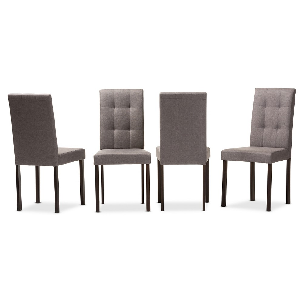 Andrew Modern & Contemporary Gray Fabric Upholstered Grid-tufting Dining Chairs (Set of 4) - Baxton Studio
