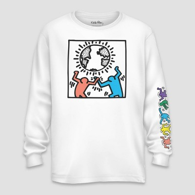 Men's Keith Haring Band Figures Long Sleeve Graphic T Shirt   Black by Shirt