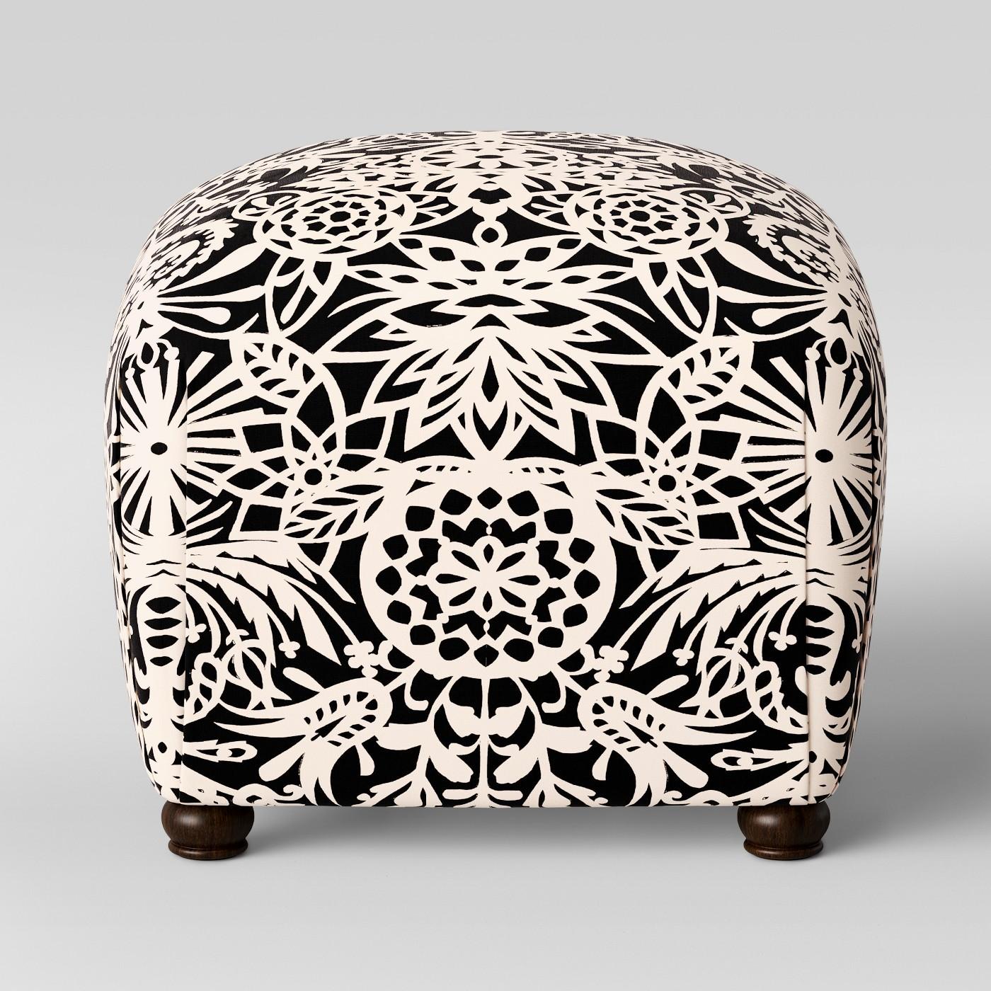 Poppy Ottoman Black & White Floral - Opalhouse™ - image 1 of 3