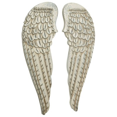 """(Set of 2)13"""" x 40.50"""" Large Distressed Angel Wings Wood Wall Art White - Olivia & May"""