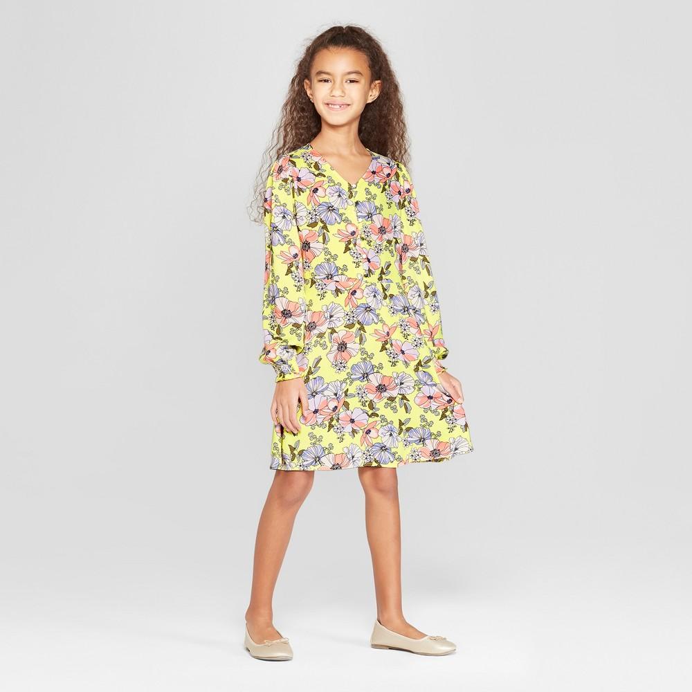 Girls' Floral Woven Dress - art class Yellow XS