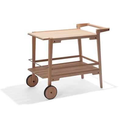 Otero Eucalyptus Wooden Outdoor Bar Trolley Cart - Alaterre Furniture
