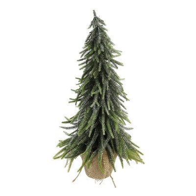 """Northlight 19.5"""" Potted Silver Glitter Artificial Downswept Mini Pine Tabletop Christmas Tree - Unlit"""