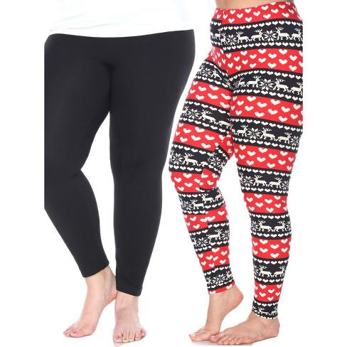Women's Pack of 2 Plus Size Leggings - One Size Fits Most Plus - White Mark - image 1 of 1