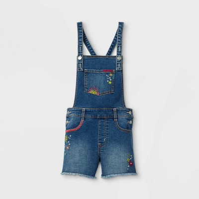 Girls' Jean Shortalls - Cat & Jack™ Dark Wash