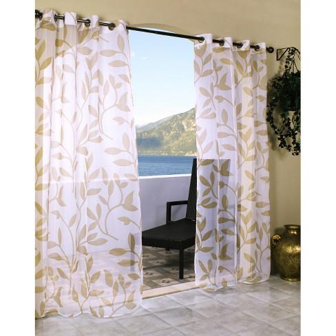 Outdoor Decor Escape Leaf Indoor Outdoor Grommet Top Sheer Curtain