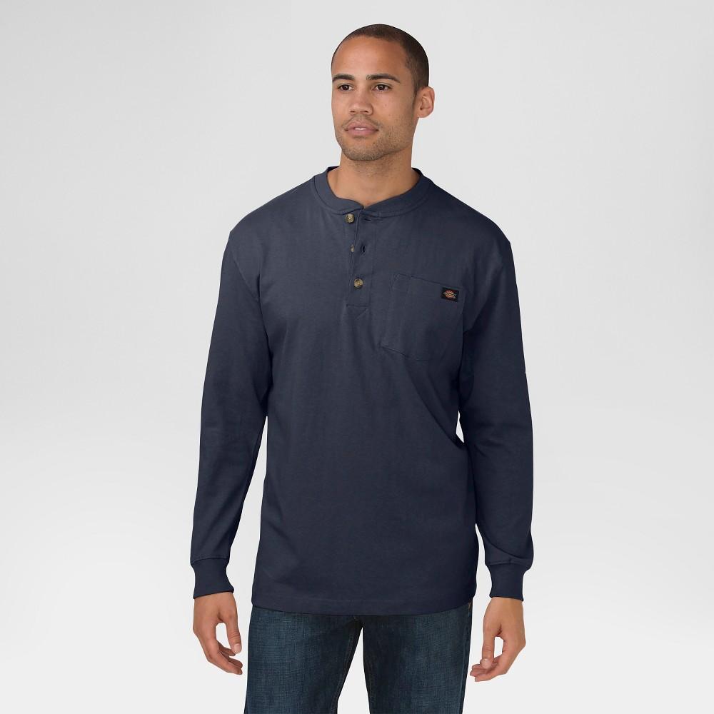 Dickies Men's Cotton Heavyweight Long Sleeve Pocket Henley Shirt- Dark Navy Xxl