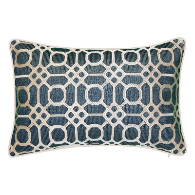 Embroidered Geometric Raffia Rectangular Indoor/Outdoor Throw Pillow - Edie@Home
