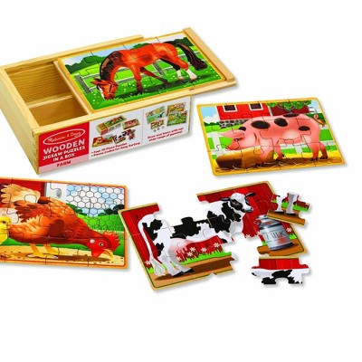 Melissa & Doug Farm 4-in-1 Wooden Jigsaw Puzzles in a Storage Box (48pc total)