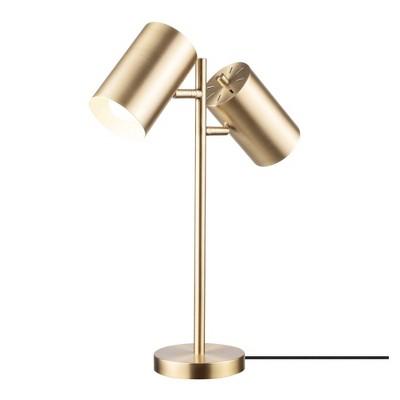 "20"" 2-Light Pratt Table Lamp with Shade Matte Brass - Globe Electric"