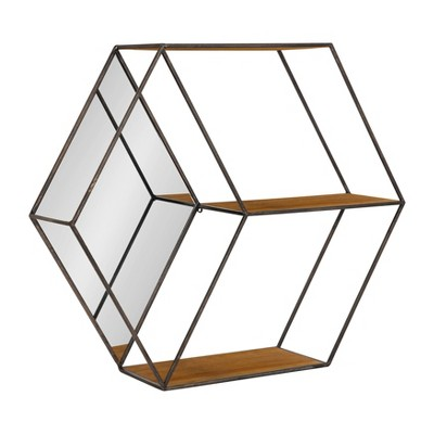 "26"" x 7"" x 23"" Lintz Hexagon Shelves with Mirror Brown - Kate and Laurel"