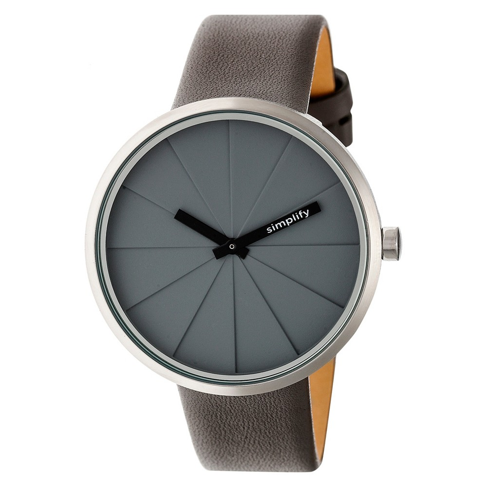 Men's Simplify The 4000 Leather-Band Watch - Flat Gray