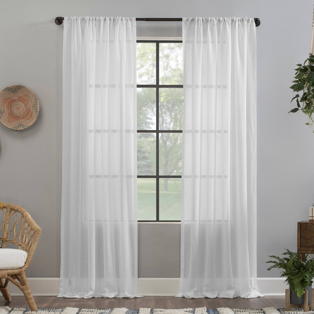 "Image of ""52""""x63"""" Crushed Texture Anti-Dust Sheer Curtain Panel White - Clean Window"""