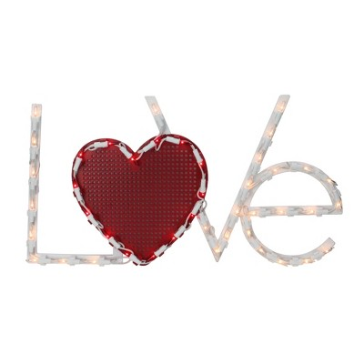 """Northlight 17"""" Lighted White and Red """"LoVe"""" with Heart Valentine's Day Window Silhouette Decoration"""
