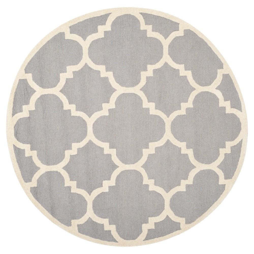 Landon Texture Wool Rug Silver Ivory 8 39 Round Safavieh
