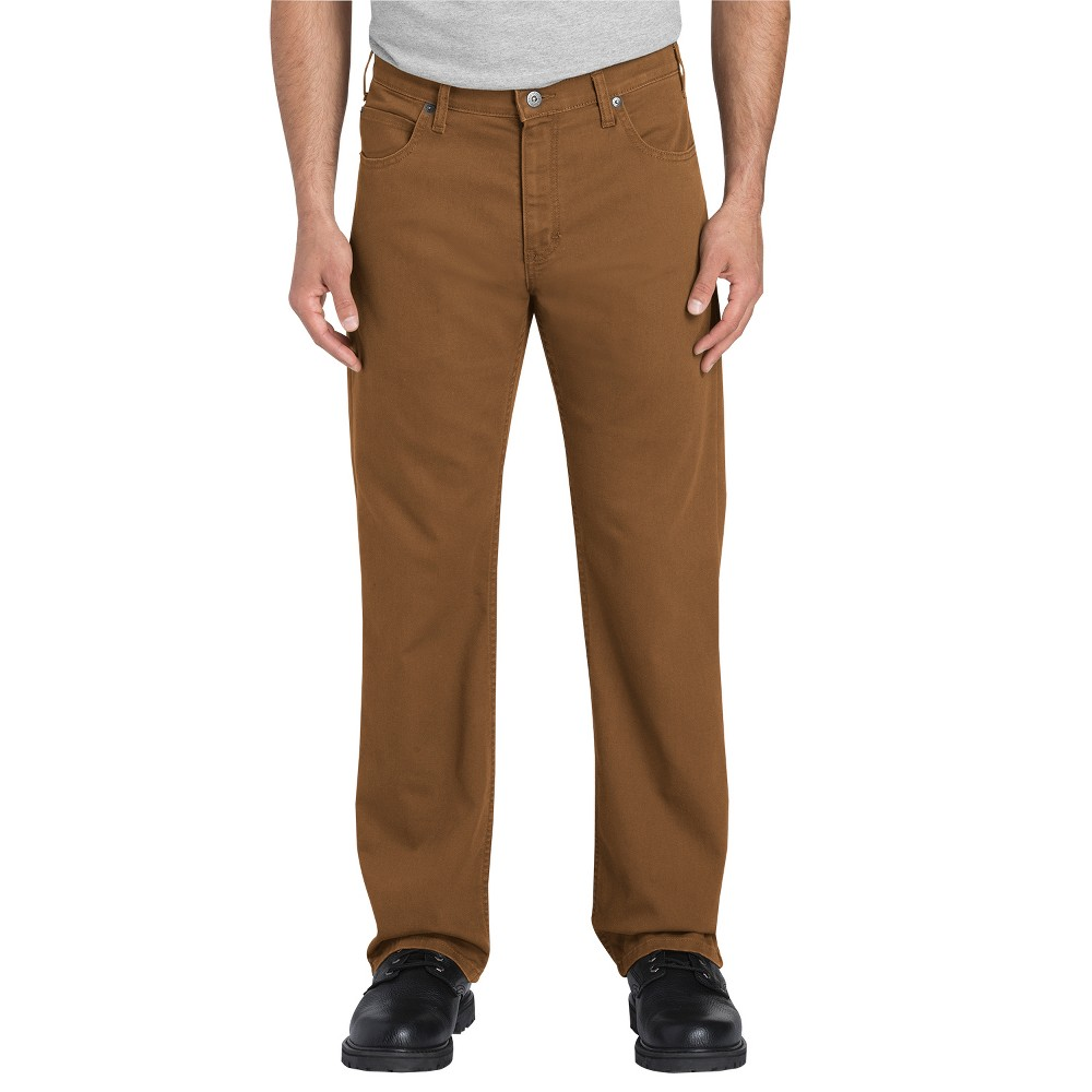 Dickies Men's Tough Max Flex Regular Straight Fit Duck Canvas 5-Pocket Pants - Brown 34x32