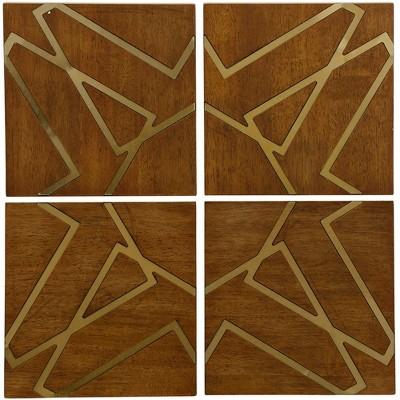 10  4pc Nano Plating Geometric Square Wooden Panel Decorative Wall Art - StyleCraft
