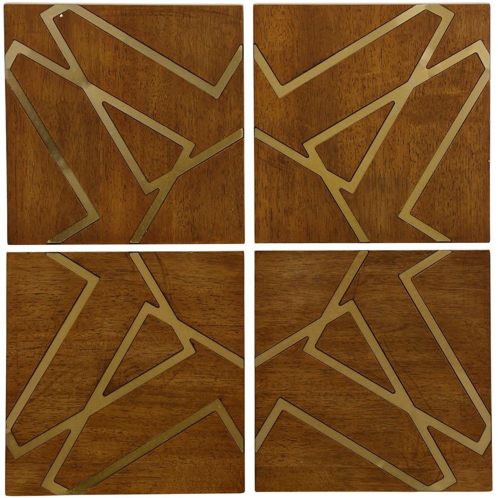 "Image of ""10"""" 4pc Nano Plating Geometric Square Wooden Panel Decorative Wall Art - StyleCraft"""