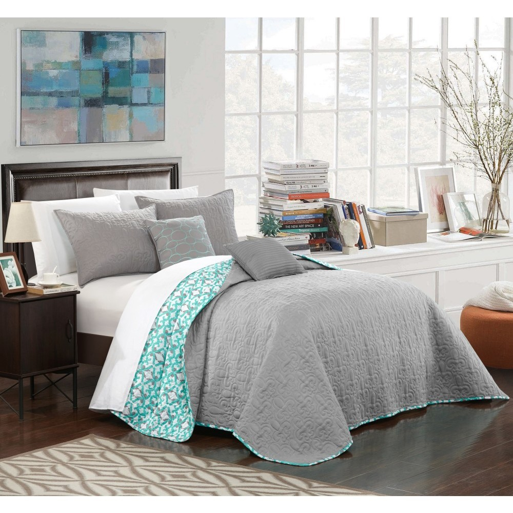 King 5pc Pamelia Quilt Set Gray - Chic Home