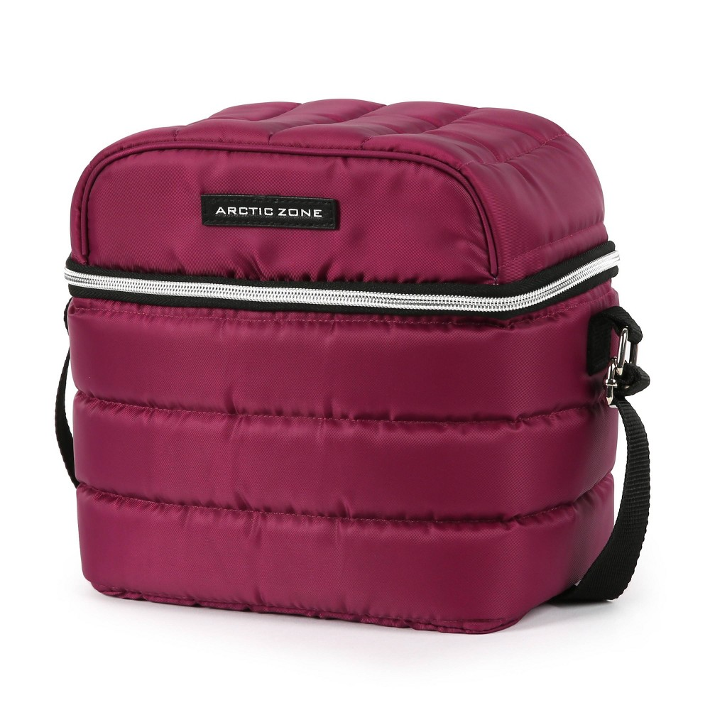 Arctic Zone Crossbody Quilted Lunch Bag Red Violet