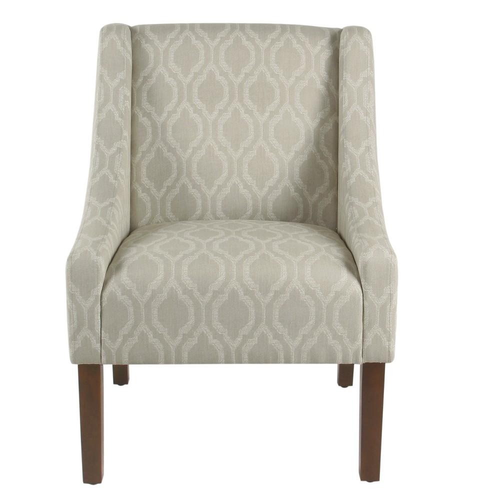 Homepop Modern Swoop Arm Accent Chair Tan Geometric
