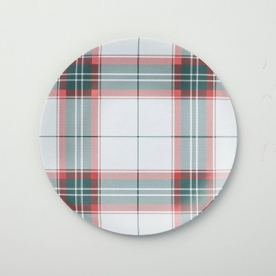 Holiday Plaid Melamine Dinner Plate Red/Green - Hearth & Hand™ with Magnolia
