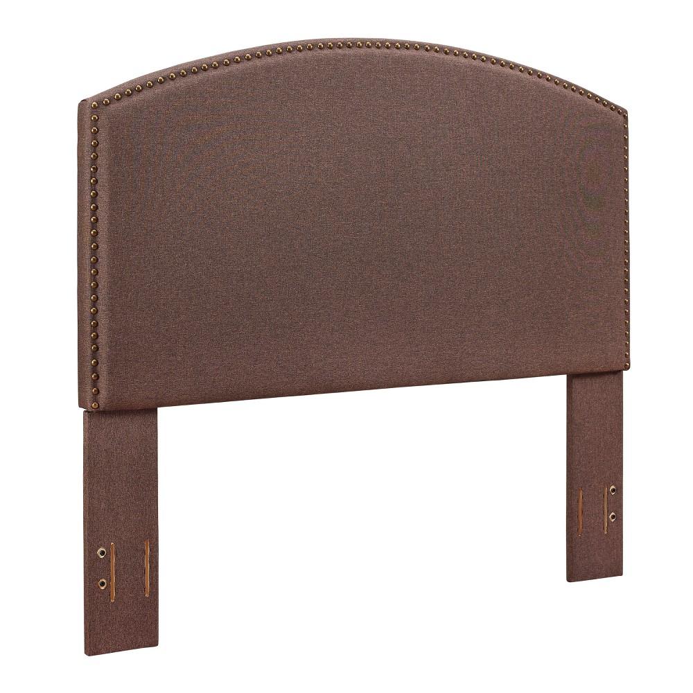 Cassie Curved Upholstered Full/Queen Linen Brown - Crosley