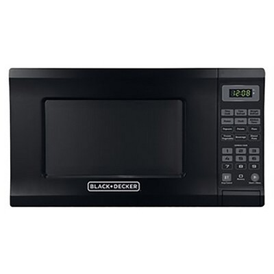 West Bend EM720CPI-PMB 0.7 Cubic Foot Capacity 700 Watt Compact Countertop Microwave Oven Kitchen Appliance with 8.5 Inch Round Turntable, Black