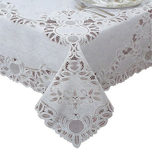 Crochet Vinyl Lace Tablecloth White Elrene Home Fashions