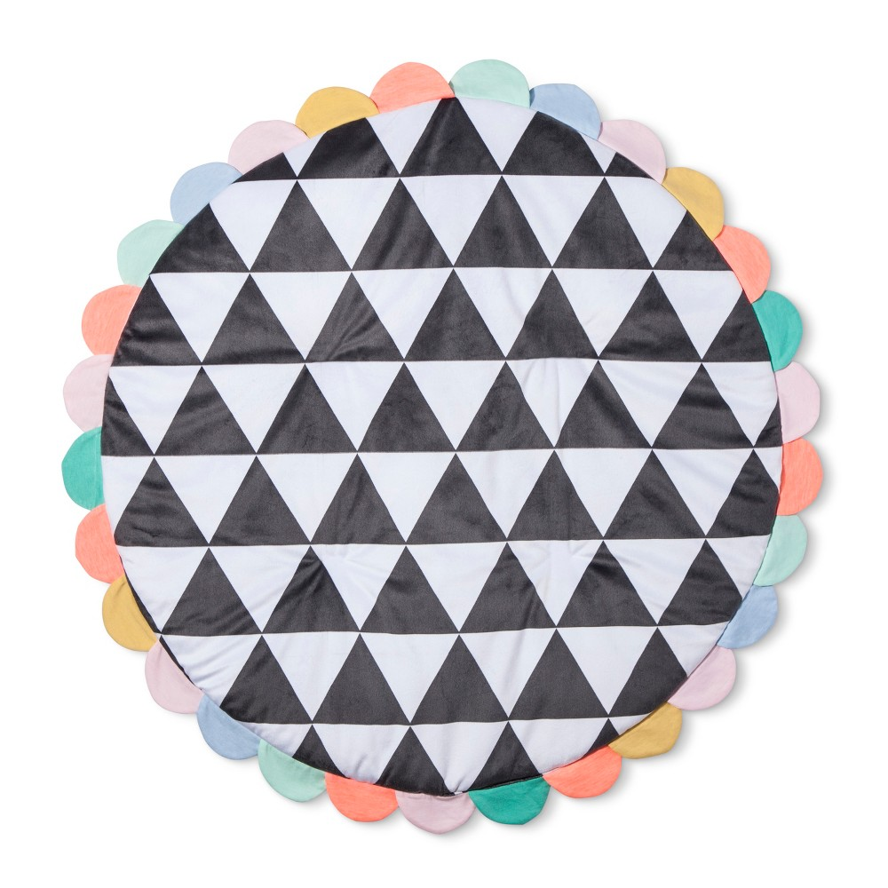 Image of Activity Circle Playmat Geo Bright - Cloud Island Performance Gray, White Black