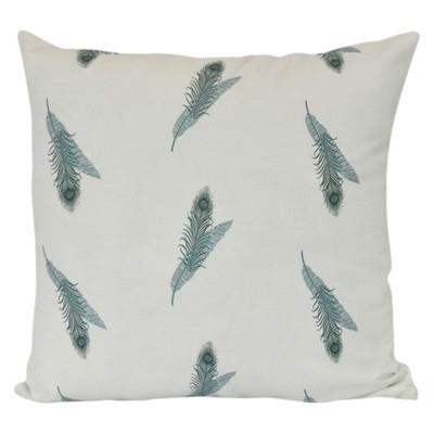 Green/White Stripe Floral Print Pillow Throw Pillow (16 x16 )- E by Design