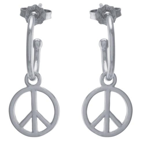 Women S Sterling Silver Peace Sign Charm Hoop Earrings