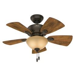 """34"""" Watson New Bronze Ceiling Fan with Light - Hunter Fan"""