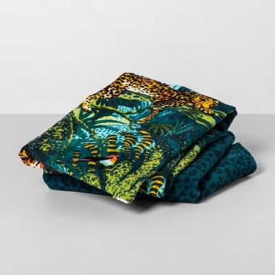 2pk Jungle Cat Hand Towels Blue/Green - Opalhouse™