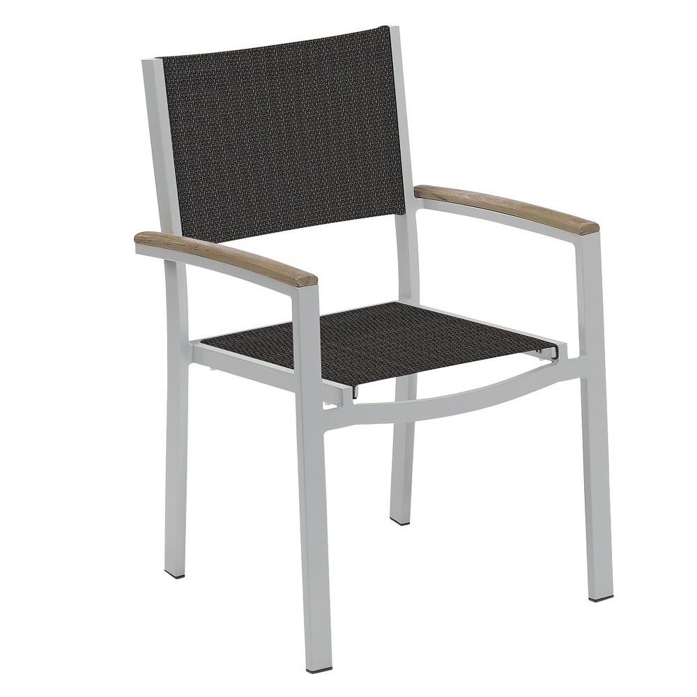 Travira Set of 4 Patio Dining Chairs - Ninja Sling - Powder Coated Aluminum Frame - Tekwood Vintage Armcaps - Oxford Garden, Ninja Sling/Vintage Tekwood Armcaps