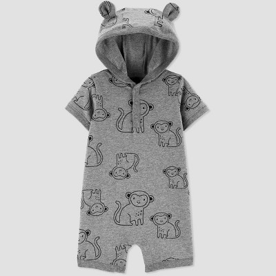 Baby Boys' Monkey Short Hooded Romper - Just One You® made by carter's Gray 6M