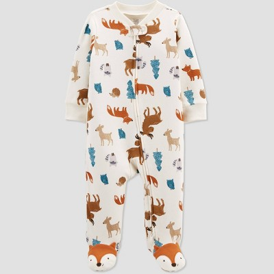 Baby Boys' Fox Interlock Footed Pajama - Just One You® made by carter's Ivory 3M