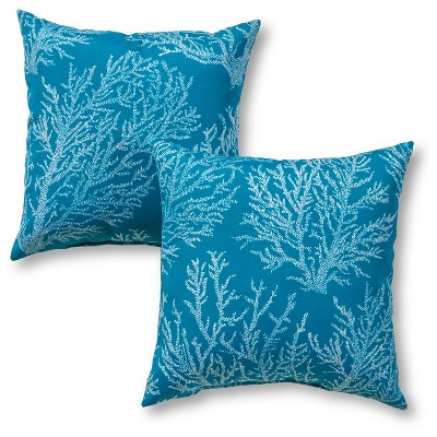 2pc Outdoor Throw Pillow Set - Blue/White - Greendale Home Fashions