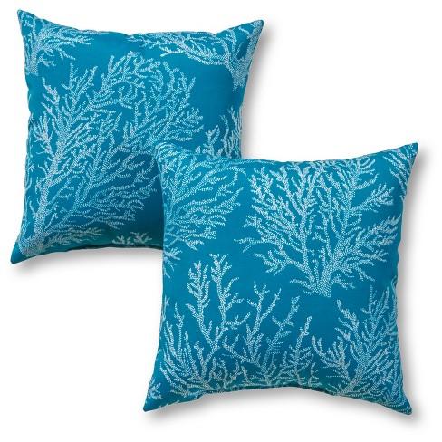 Set of 2 Sea Coral Outdoor Square Throw Pillows - Kensington Garden - image 1 of 3