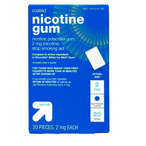 Coated Nicotine 2mg Gum Stop Smoking Aid - Mint Freeze - (Compare to active ingredient in Nicorette White Ice Mint Gum) - Up&Up™ - image 1 of 1