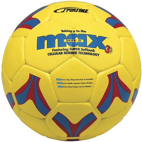 SportimeMax Size 5 ProRubber Soccer Ball, Yellow with Red-and-Blue Linear Design - image 1 of 1