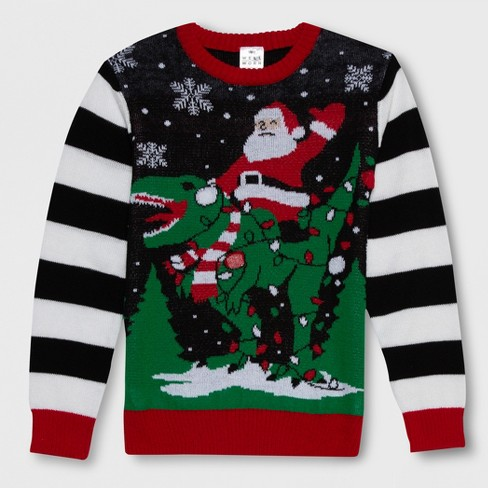 Well Worn Boys' Santa Dino Ugly Christmas Sweater - Black/White - image 1 of 2