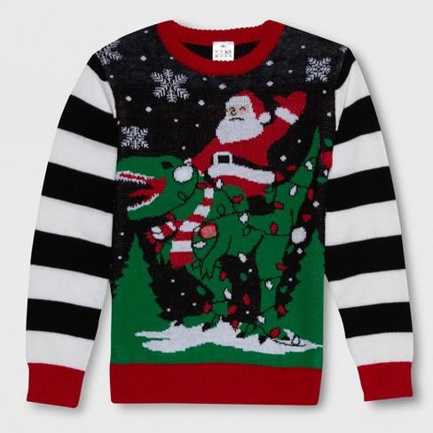 well worn boys santa dino ugly christmas sweater blackwhite