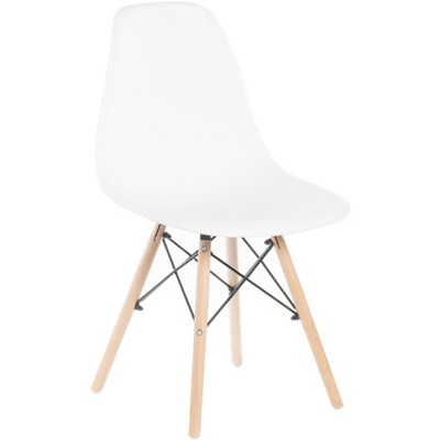 Mid-Century Modern Style Plastic DSW Shell Dining Chair with Solid Beech Wooden Dowel Eiffel Legs, Black