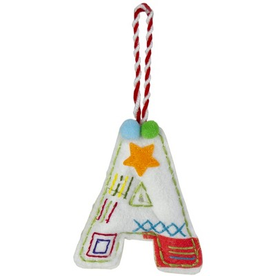 """Northlight 6"""" White and Red Letter """"A"""" Stitched Christmas Ornament"""