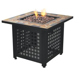 Endless Summer Propane Powered Square Outdoor Patio Firetable with Lava Rocks
