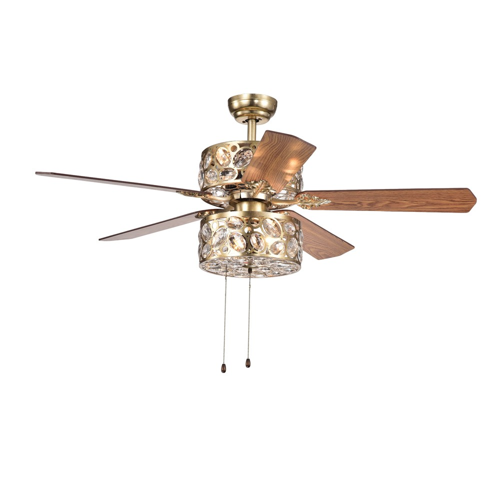 Thisavro 5 Blade Crystal Golden Mist 52 Lighted Ceiling Fan - Warehouse of Tiffany