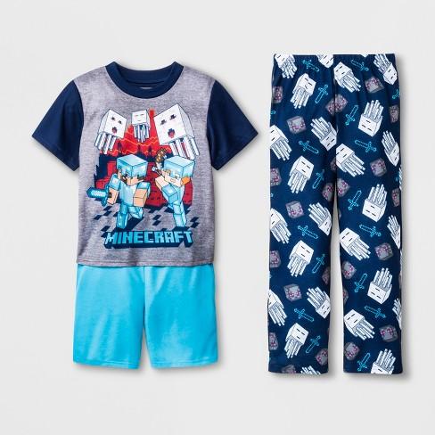 Boys  Minecraft 3pc Pajama Set - Navy   Target 9d769109b